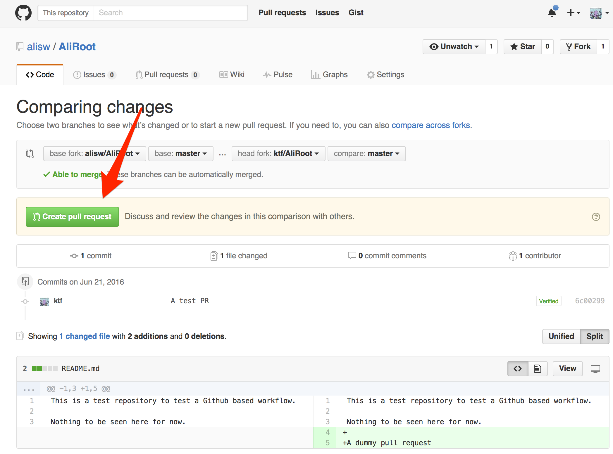 Git create a Pull Request